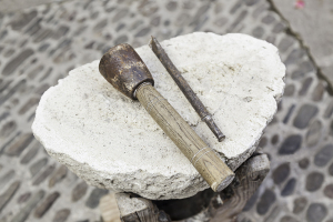 Chisel and hammer stone working